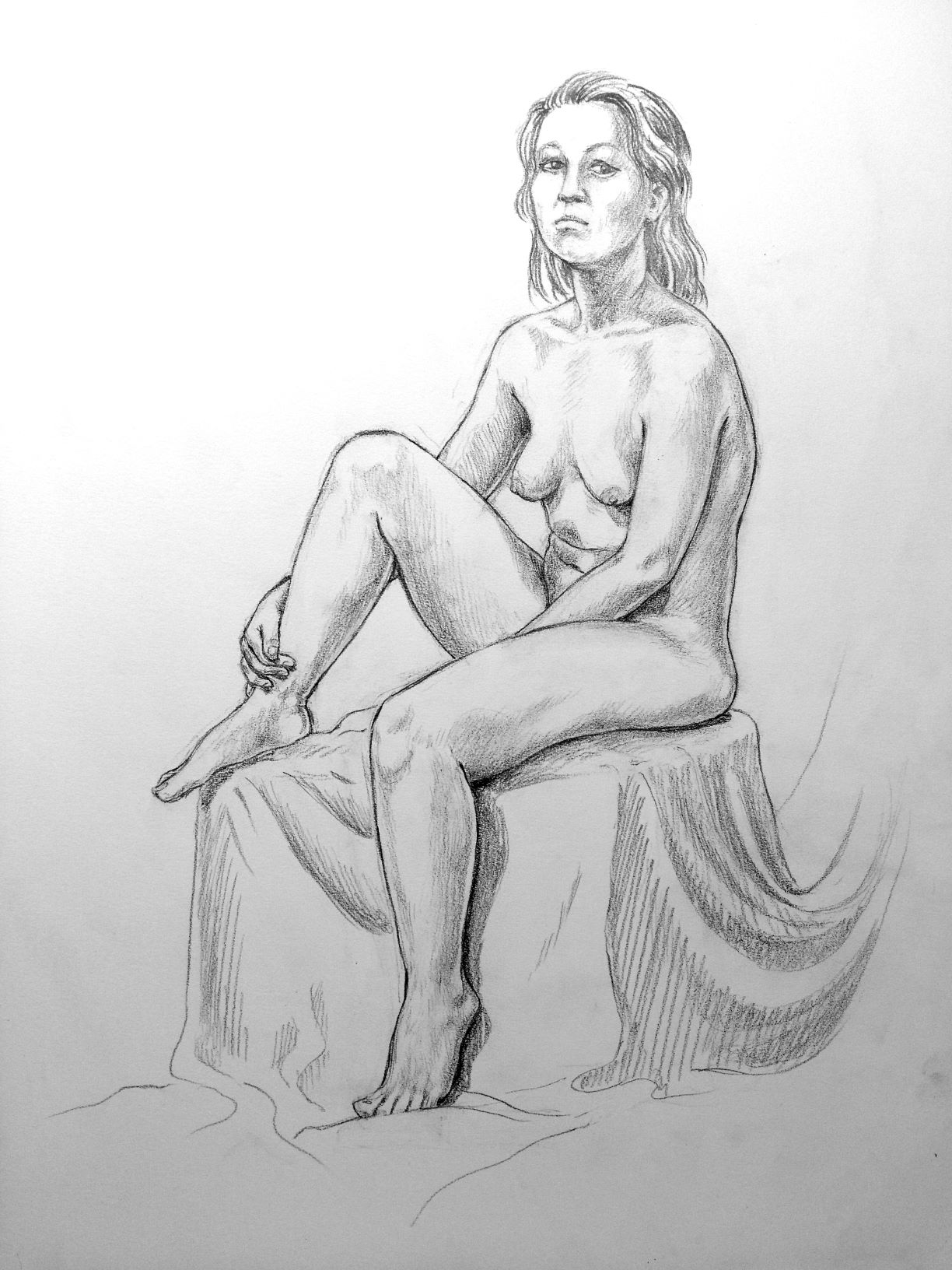 Woman, seated.