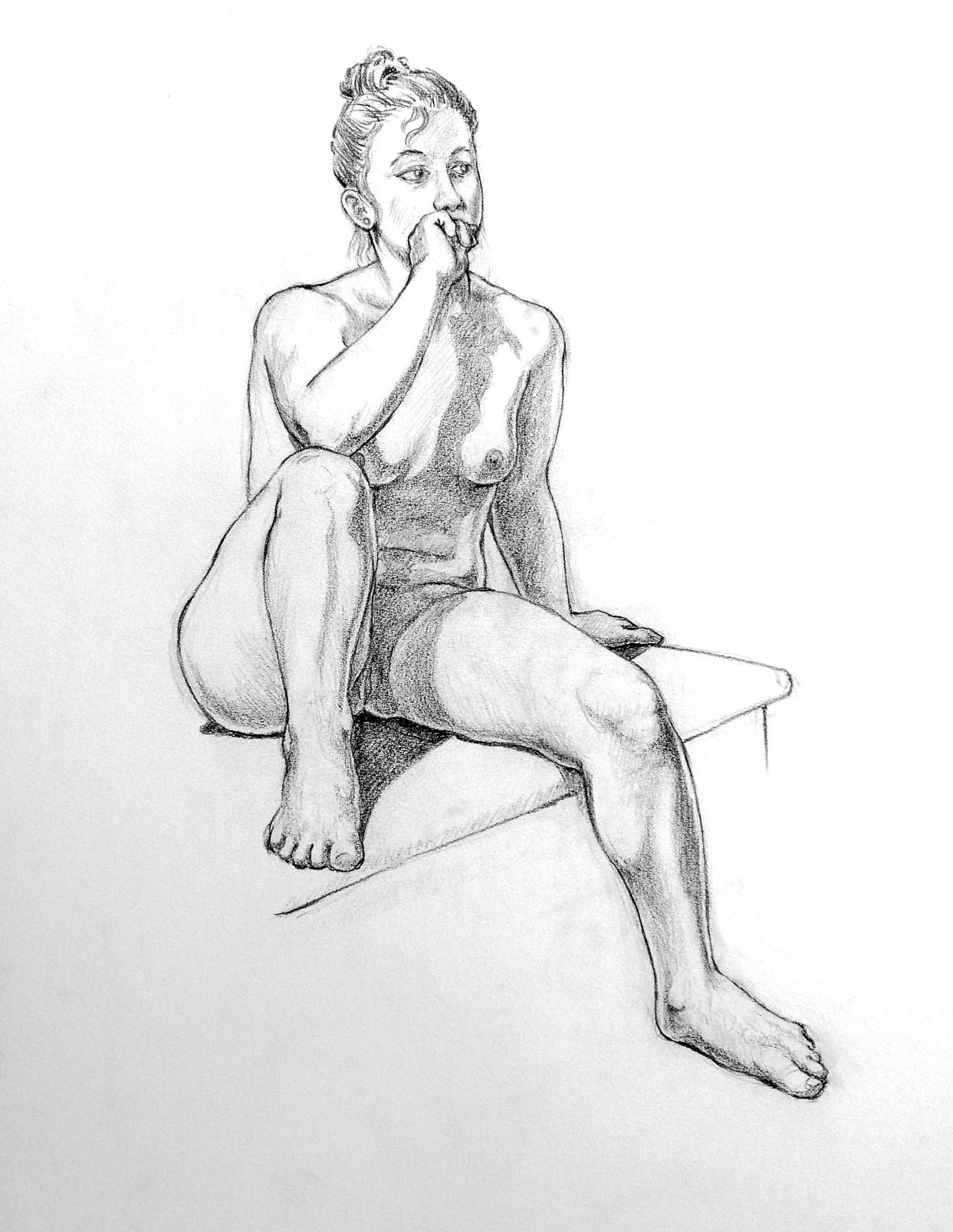 Seated female nude. Looking off into distance. Hair pulled back.